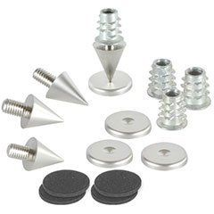"""Dayton Audio DSS2-SN Satin Nickel Speaker Spike Set 4 Pcs. by Dayton. $8.95. Rigidly coupling a loudspeaker enclosure to a floor by means of a """"spiking"""" system dramatically improves clarity, stereo imaging, and bass response.. Save 25%!"""