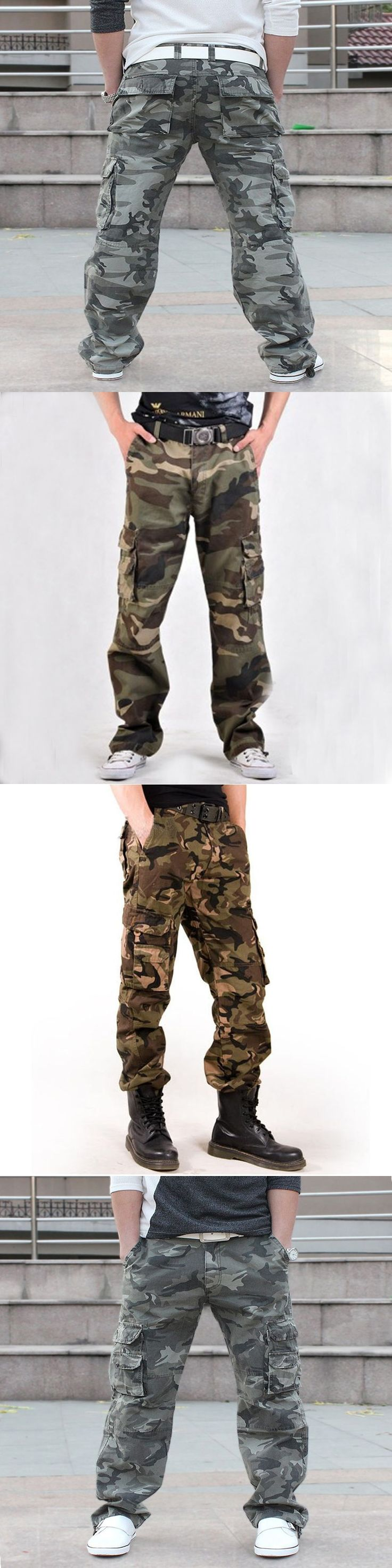 Army Militar Men's Trousers and Camo Pants with Side Pockets Combat Camouflage Overalls Fashion Baggy Cargo Pants for Men