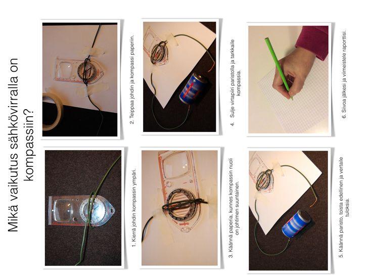 Työkortti kompassi sähkövirta virtapiiri sähkö magneetti fyke