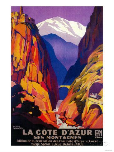 La Cote D'Azur Vintage Poster - Europe Posters by Lantern Press - AllPosters.ca