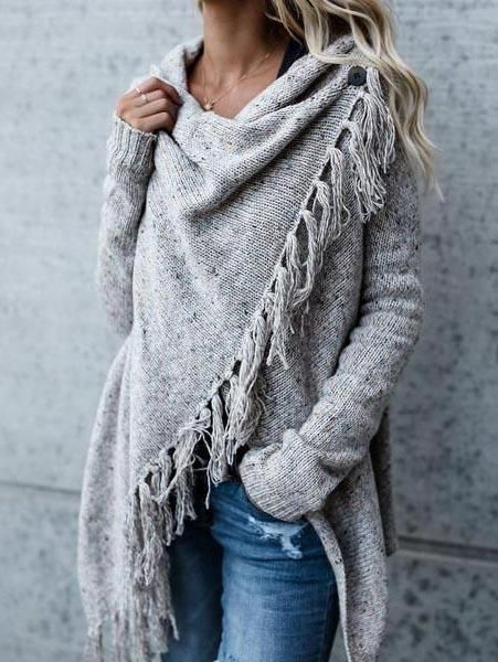 0999e3f43d Light Gray Tassel Trim Long Sleeve Cardigan  women sfashionforover50 ...