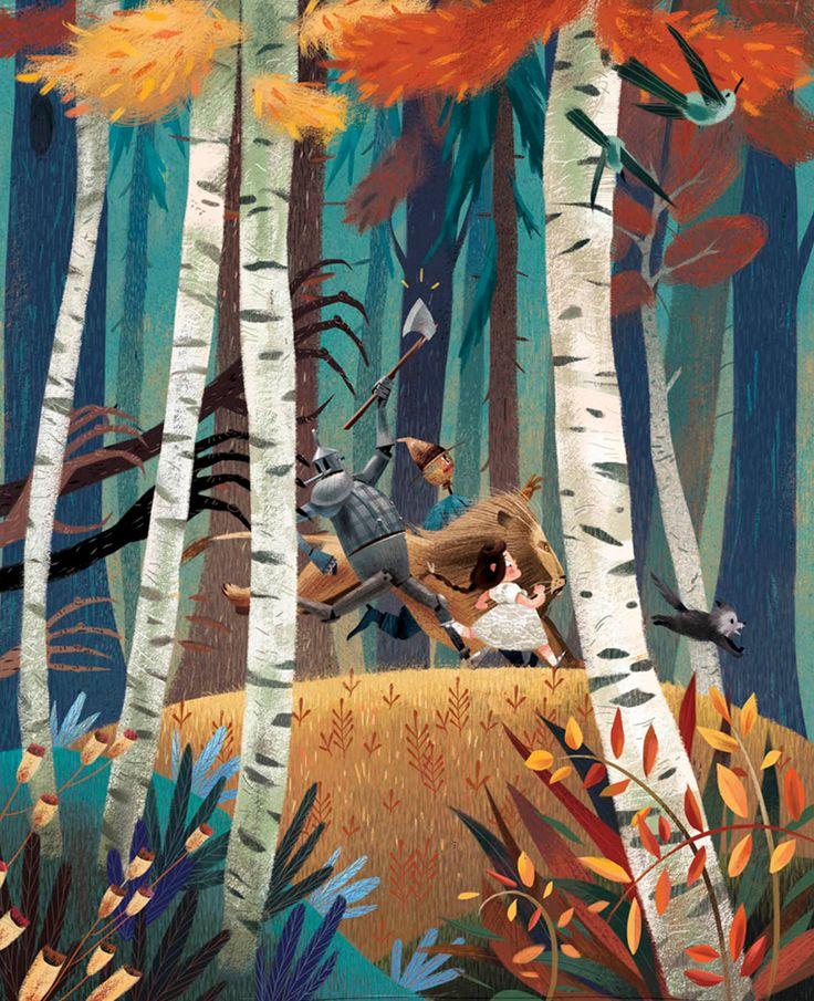 art, illustration, figure, child, girl, man, side, running, animal, lion, bird, tree, woodland, autumn, the wizard of OZ, naive, //   Júlia Sardà