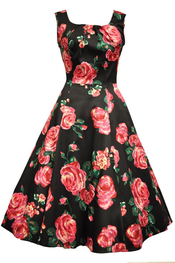Mega seje 50er kjole - pink roser på sort baggrund 50 Modetøj til Damer til hverdag og til fest