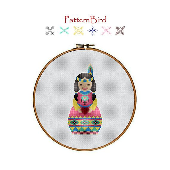 Native American Indian Girl. Instant Download PDF by PatternBird