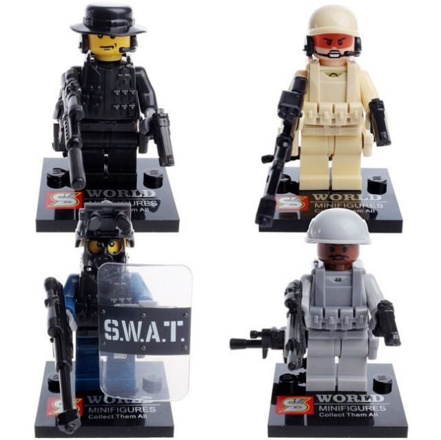 Vintage SWAT Polices Military Minfigures Minfigs Fighter Soldiers 4 pcs (1 Set)