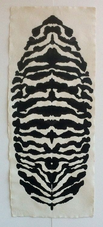 Peter Randall-Page  Rorschach Leaf II, 2014 black ink on paper, 199 x 82 cm  At Pangolin London, Sep 2014