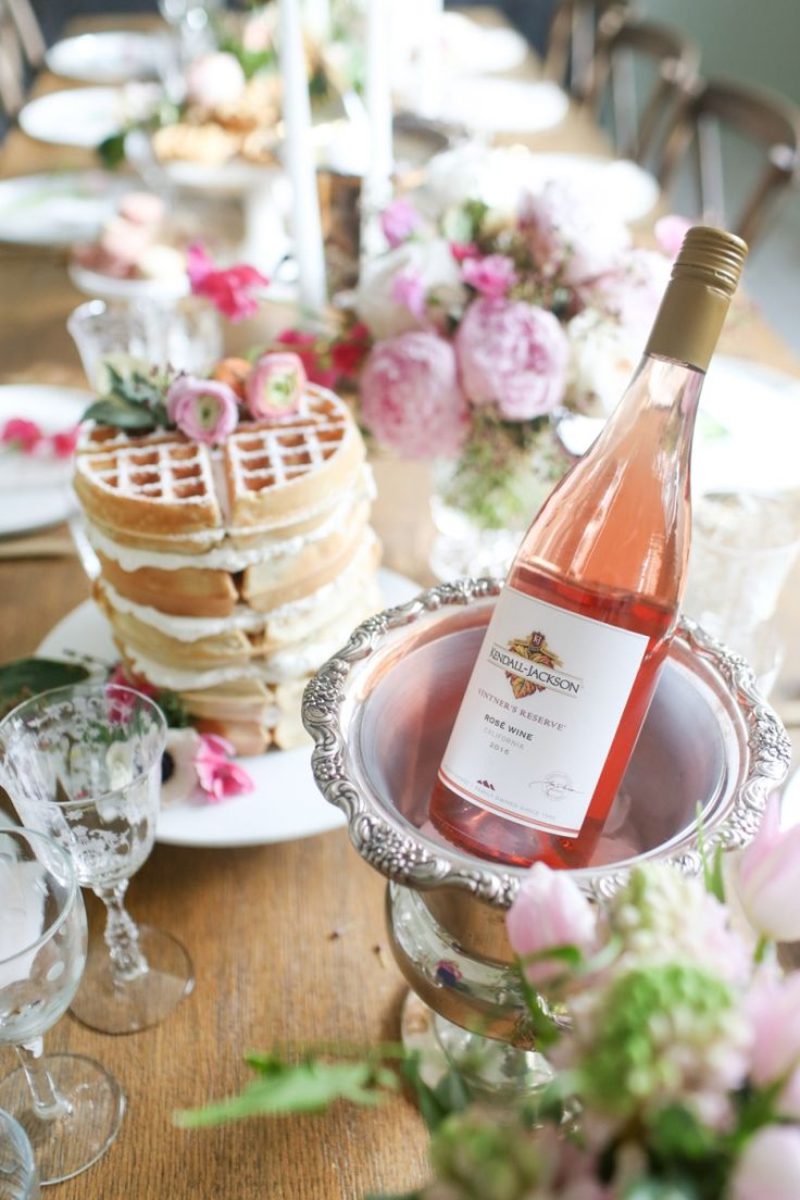 bridal shower wine tasting with frosted waffle tower and pink rose