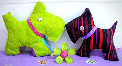 Cães scotie em tecido para crianças