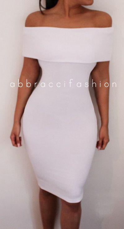 Ab Schultern Bodycon Kleid Midi dehnbar weiße von AbbracciFashion