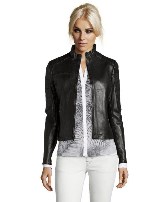 DKNY : black leather 'Mara' zip front moto jacket : style # 334144901