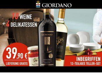 Giordano: Weinpaket mit 12 Tellern und 4 Delikatessen für 39,90 Euro https://www.discountfan.de/artikel/essen_und_trinken/giordano-weinpaket-mit-12-tellern-und-4-delikatessen-fuer-3990-euro.php Bei Giordano ist jetzt wieder ein attraktives Weinpaket für 39,90 Euro frei Haus zu haben: Neben zehn Flaschen Wein sind ein zwölfteiliges Tellerset sowie vier Delikatessen inklusive. Giordano: Weinpaket mit 12 Tellern und 4 Delikatessen für 39,90 Euro (Bild: Giordano.de) Das Wei