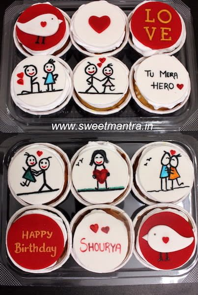 Love theme customized designer fondant couple cartoon cupcakes for husband's birthday by Sweet Mantra - Customized 3D cakes Designer Wedding/Engagement cakes in Pune - http://cakesdecor.com/cakes/290738-love-theme-customized-designer-fondant-couple-cartoon-cupcakes-for-husband-s-birthday