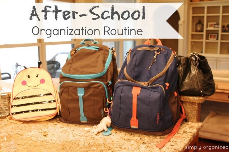simply organized: after-school organization routine