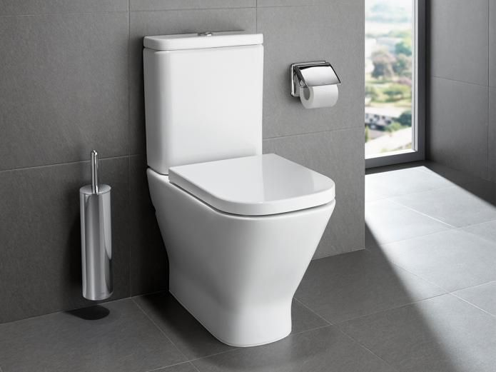 Incorporating an advanced rimless design, The Gap Rimless Close Coupled Back to Wall Toilet Suite from Roca, circulates water around the entire surface of the pan from a single flushing point achieving a better cleaning performance. Due to not having any edges, holes or angles on the pan's surface, there is less area for bacteria build up making The Gap Rimless hygienically optimal than conventional toilets.