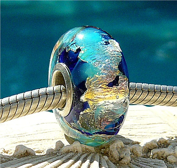 INK GLITTERIZE OPAL Fully Lined Sterling Silver Big Hole Bead fits Troll Trollbeads Chamilia European Charm Bracelets Handmade Lampwork