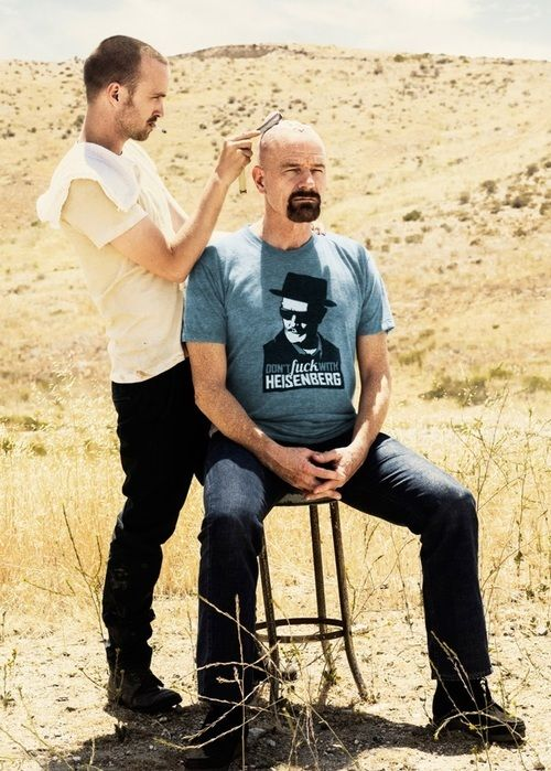 Bryan Cranston and Aaron Paul on the set of Breaking Bad.