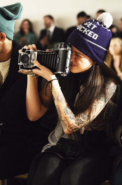 Girl with Tattoos and Beanie Shooting Old Camera. #Photographer #Photography #Cameras