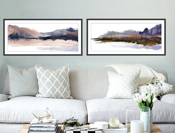 Set Of 2 Prints 12x36 Inches Narrow Horizontal Art Print Etsy Watercolor Paintings Art Prints Prints