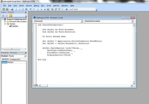 Create macro and button for paste unformatted text in Outlook 2007