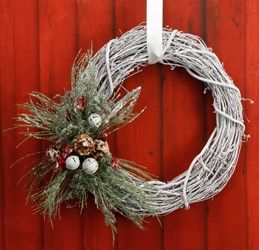 White grapevine wreath with evergreen a door able for Craft wreaths for sale