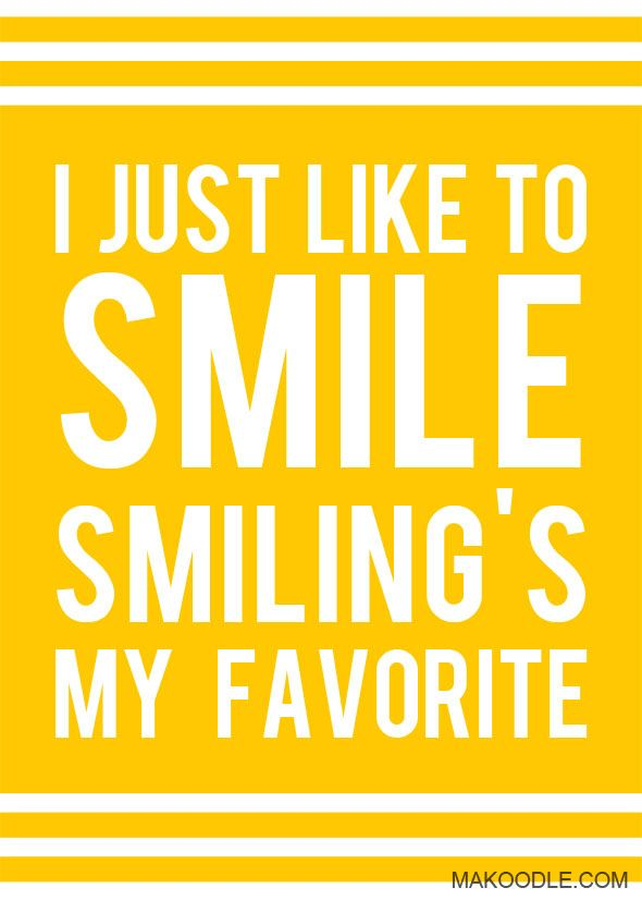 SI Just Like to Smile. Smiling's My Favorite. Free Christmas Printable Decor from Makoodle.com - Quote from Elf
