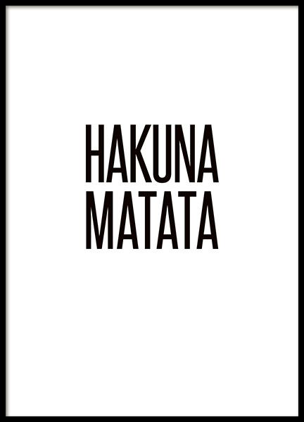 Typography print with the quote, 'Hakuna Matata', which most of us recognize. The perfect poster to put on any wall, it will get you in a good mood. No worries! www.desenio.com