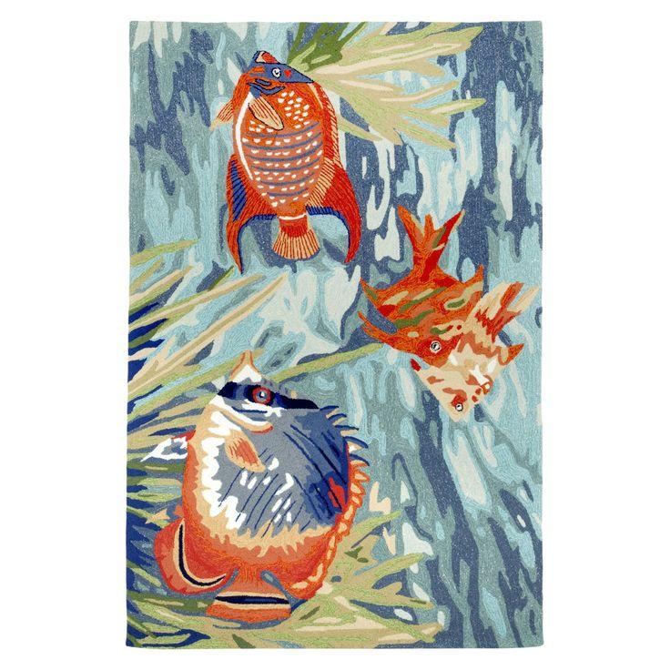 Liora Manne Ravella Tropical Fish Indoor/Outdoor Area Rug - Blue (5'X7'6)