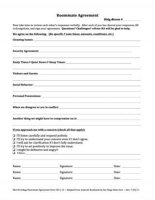 The  Best Roommate Agreement Template Ideas On