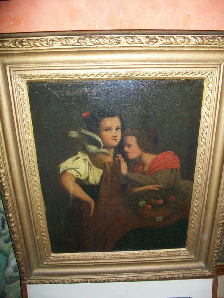 RAGAZZE CON FIORI E COLOMBA SULLA SPALLA. Olio su tela, Primo '800. Misure cm. 70x 61 ebay Antichità Pietro Lupi