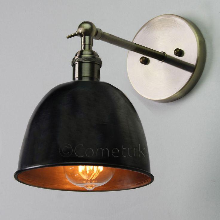 Vintage Antique IndustrIal Bowl Sconce Loft Rustic Wall Light Lampshade Bulb UK in Home, Furniture & DIY, Lighting, Wall Lights | eBay