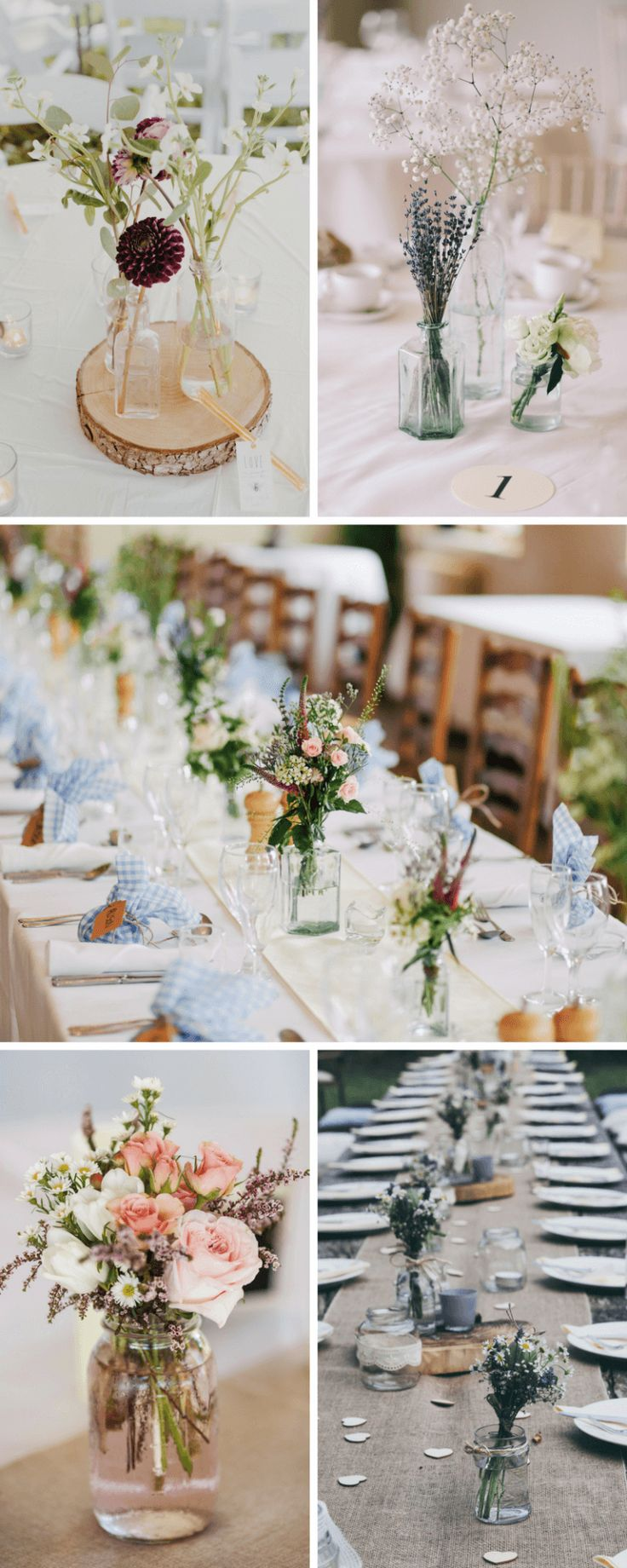 Minimalistische Hochzeits-Tischdeko