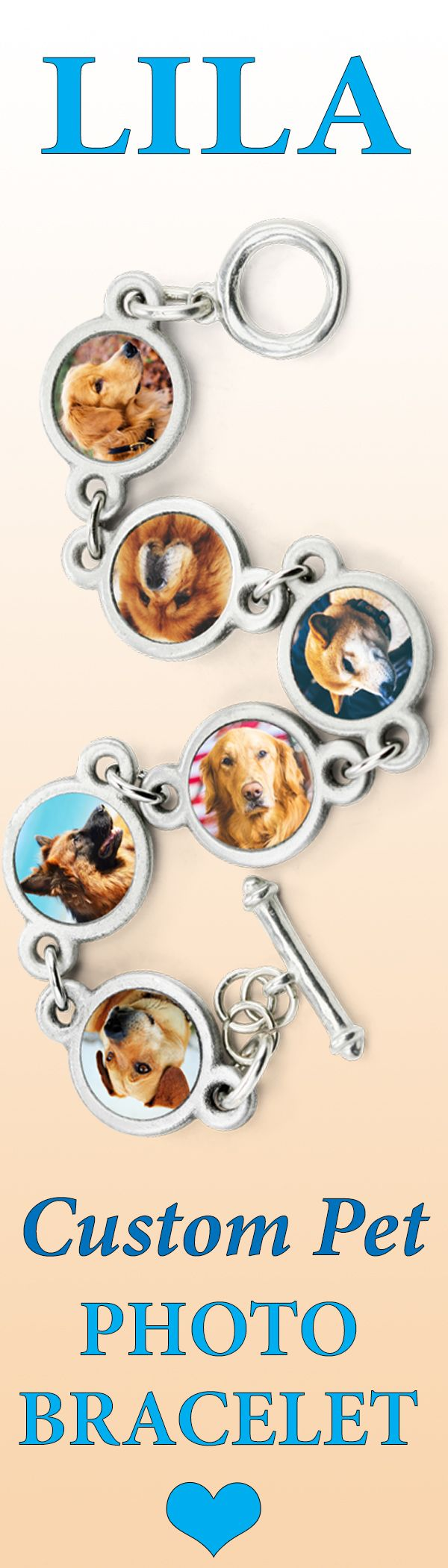 The Lila Photo Bracelet https://zeldassong.com/products/lila-charm-photo-bracelet?variant=33780529354 is delicately proportioned to mix and match photos of your dog or dogs with dog bone charms for a custom design.