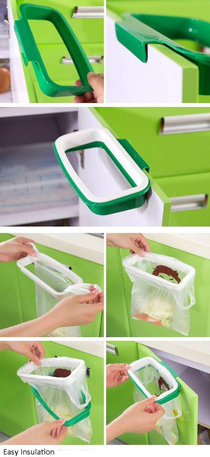 colgante de basura de plástico estante de soporte de la bolsa de basura armario de la cocina bolsa de almacenamiento