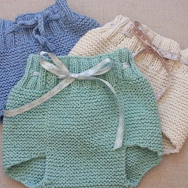 Lovely soakers/diaper covers. Beautiful colours. Summer yarns. Pattern not mentioned but looks like a very close relative of Daisyhead's Adaptation soakers. Only these look like they were started at the front end, which is almost completely straight (minimal leg shaping on front; most leg shaping on back).
