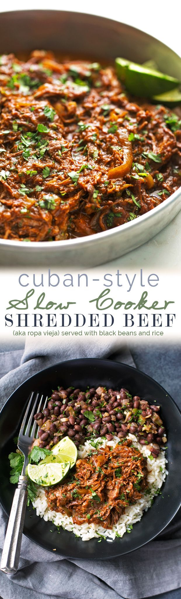 Cuban Shredded Beef (Slow Cooker) - The easiest recipe for ropa vieja! Made in the slow cooker. Just add everything in and out comes the most tender, shredded beef EVER! #cubanshreddedbeef #shreddedbeeftacos #ropavieja #slowcooker   http://Littlespicejar.com