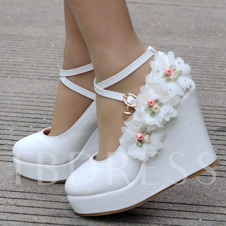 Appliques buckle platform wedge heel wedding shoes for