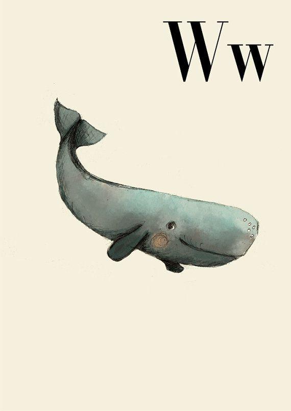 W für Wal - Alphabet Kunst - Alphabet drucken - ABC Wandkunst - ABC Drucken - Kinderzimmer - Kinderzimmer Dekor - Kinder Zimmer Dekor - Kind...