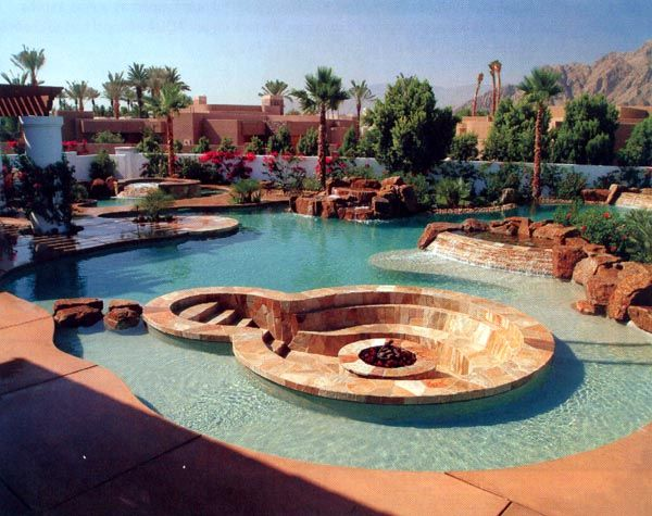 Inground pool with stepping stones to fire pit