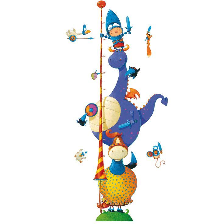Toise stickers Chevalier Fantastique : Little big room by Djeco - Toise en stickers - Berceau Magique