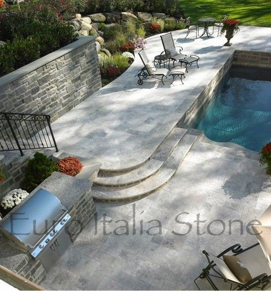 Travertine Pool Deck & Coping - Argento Silver