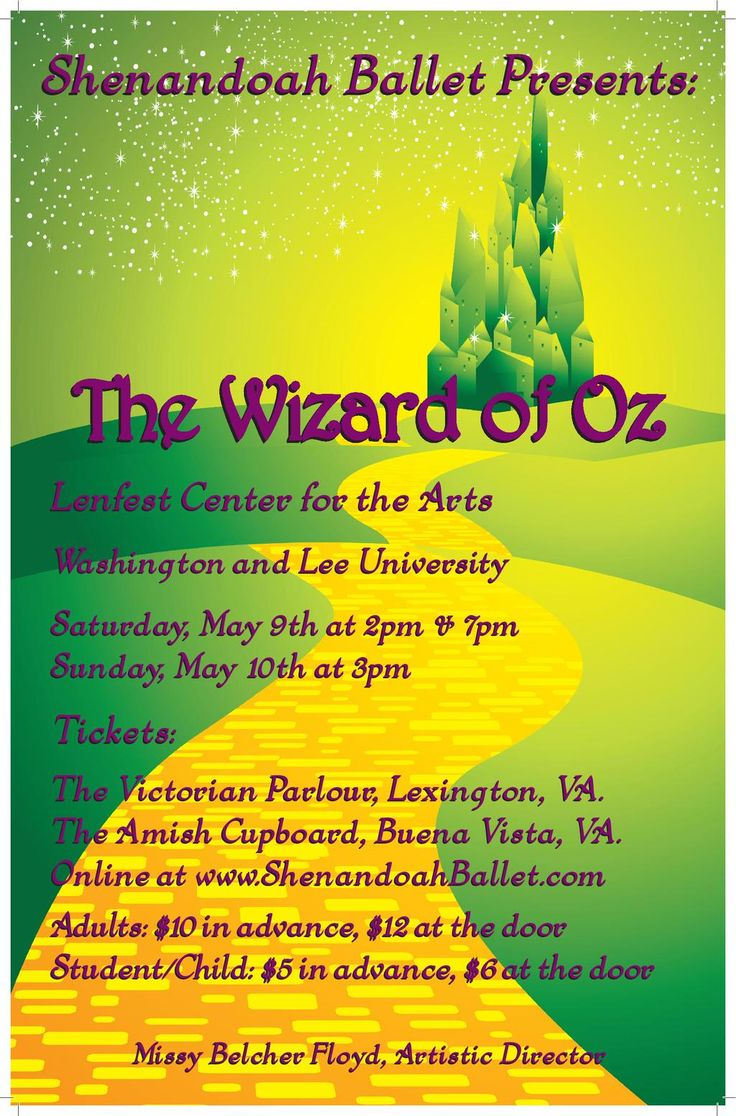 Wizard of Oz tickets http://ShenandoahBallet.com  Tickets in stores soon May 9 & 10 Lenfest Center @MainStreetLex @wluLex