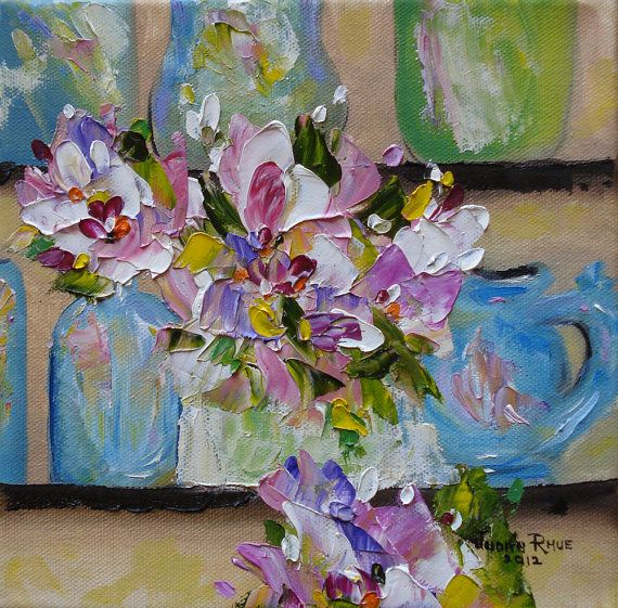 Shelf Life Abstract Oil Painting Flowers Floral Glass By Jujuru