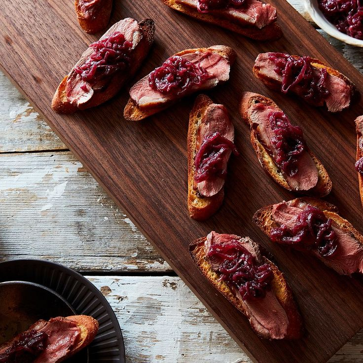 Crostini with Duck Breast and Red Onion Jam recipe on Food52