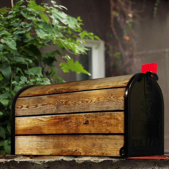 banjado original US mailbox black with 'Wooden Boards' motive
