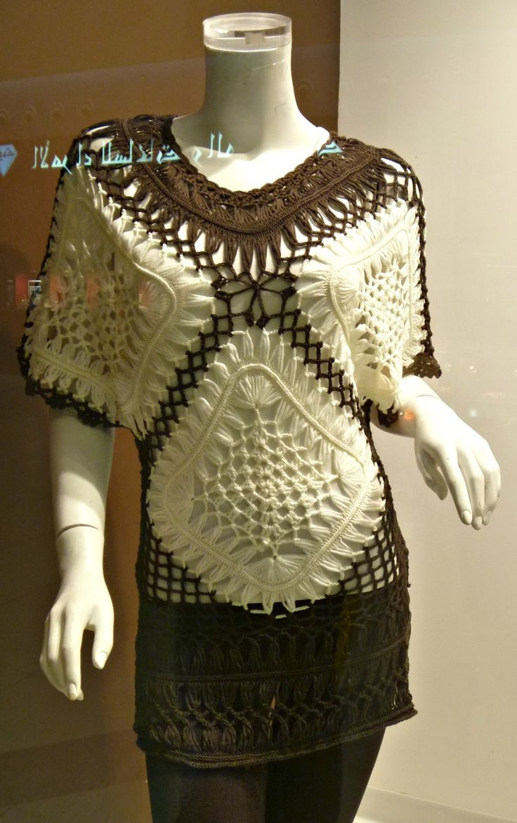 """inspiration - hairpin lace top spotted at a shop in Saudi Arabia by Stitch Story: """"Hairpin Lace- a Fashionable Crochet Trend!"""""""