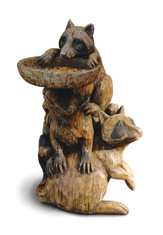 Raccoon Bird Bath Or Bird Feeder Pedestal At