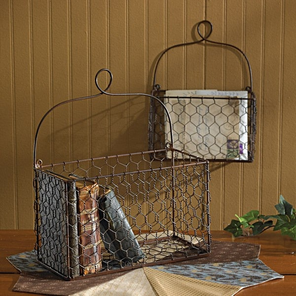 Wall Decor with Chicken Wire Baskets