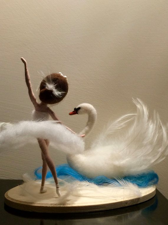 Needle felted doll Waldorf inspired Wool White Swan by DreamsLab3