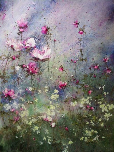 Laurence Amelie, acrylic on canvas - beautiful flower garden!