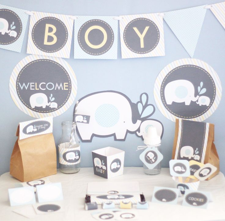Boy Elephant Baby Shower Decorations Printable   Blue Yellow Gray Elephant  Baby Shower Decorations   Instant Download